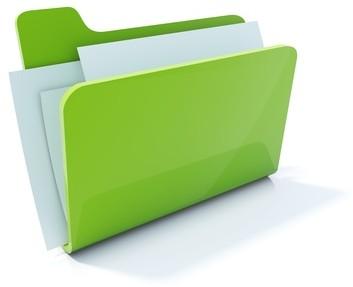 Full green folder icon isolated on white